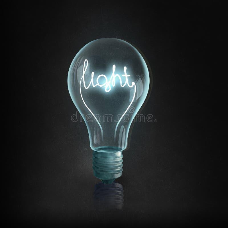 Bulbo y líneas eléctricas eléctricos de Eco fotografía de archivo libre de regalías