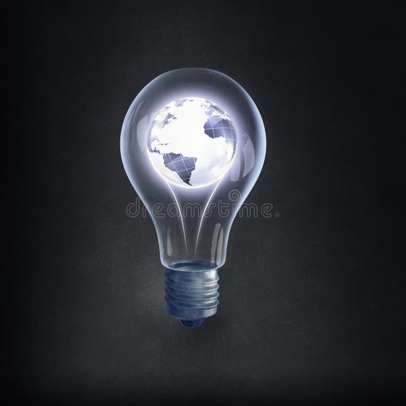 Bulbo y líneas eléctricas eléctricos de Eco imagenes de archivo