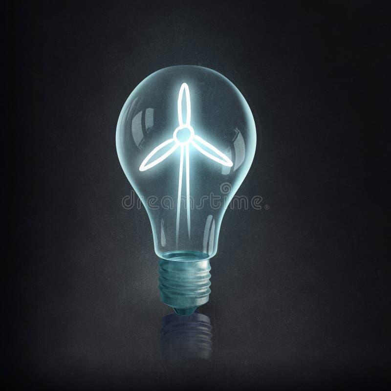 Bulbo y líneas eléctricas eléctricos de Eco fotos de archivo libres de regalías