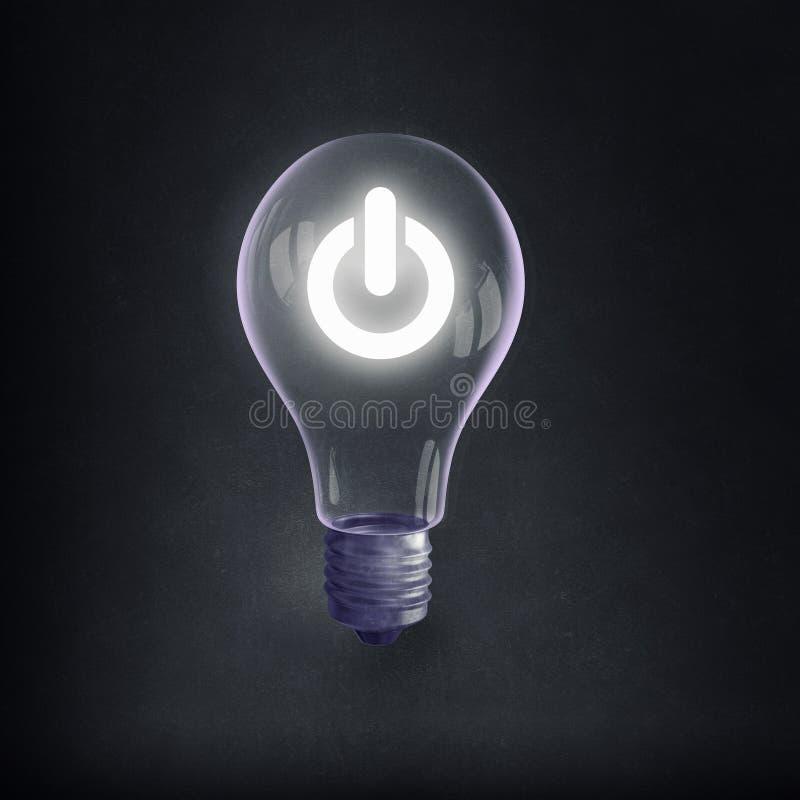 Bulbo y líneas eléctricas eléctricos de Eco imagen de archivo