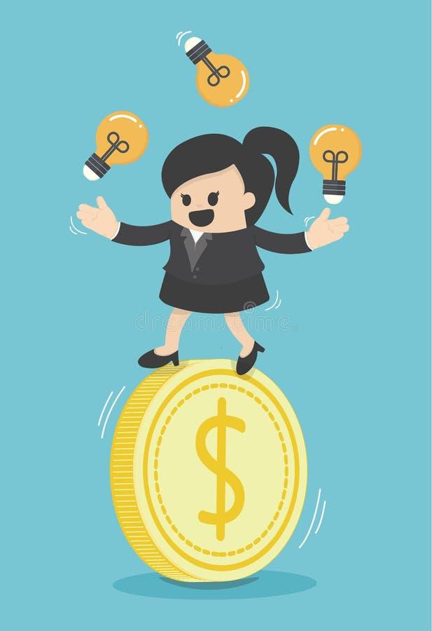Bulbos acrobáticos del juego de la mujer de negocios del concepto en el dinero ilustración del vector