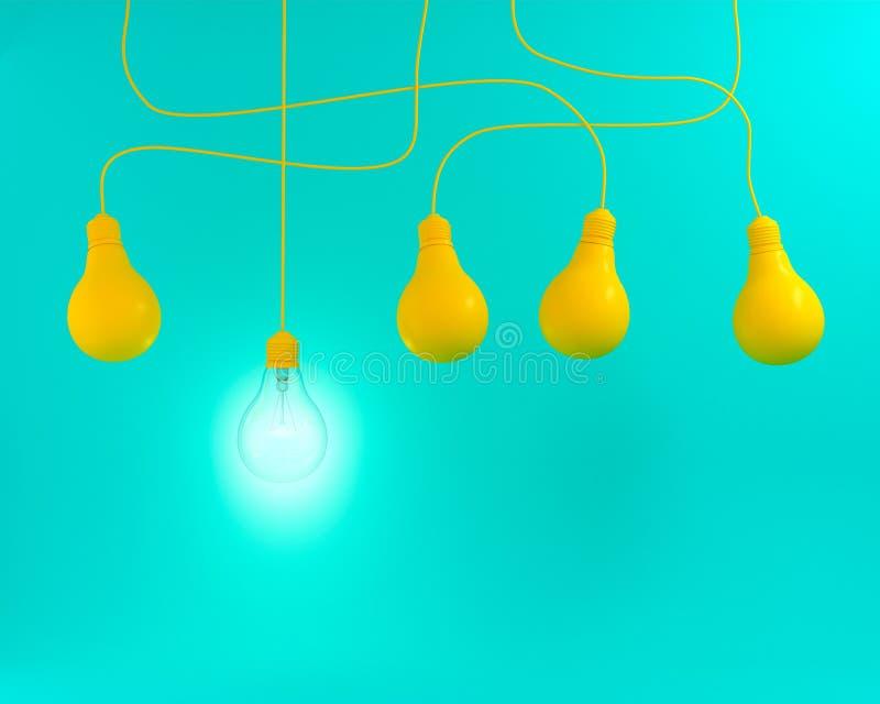 Bulbos colgantes de la luz ámbar con que brillan intensamente una diversa idea en el fondo en colores pastel verde, endecha plana ilustración del vector