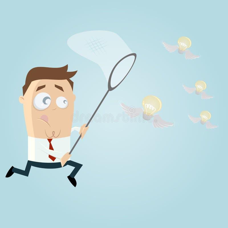 Bulbos de cogida del vuelo del hombre de negocios libre illustration