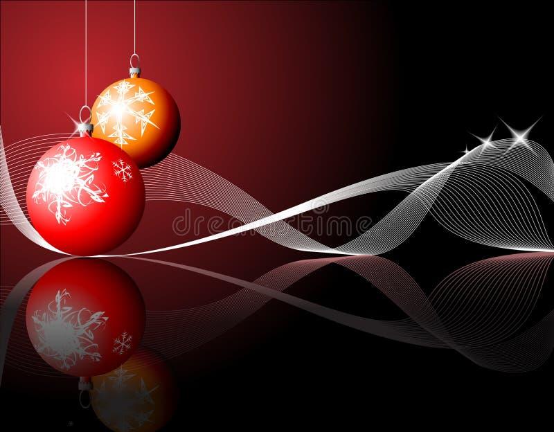Bulbos de la Navidad con los copos de nieve stock de ilustración
