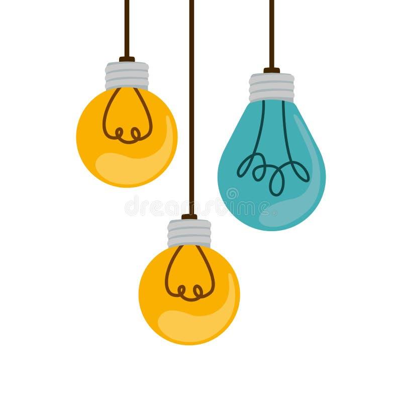 bulbos de suspensão coloridos com filamentos ilustração do vetor