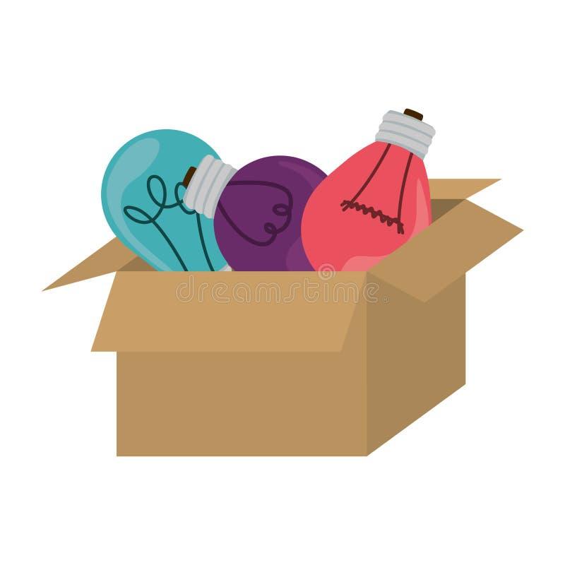 bulbos de suspensão coloridos do packcage com filamentos ilustração royalty free