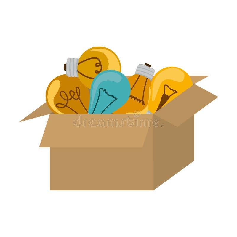 bulbos de suspensão coloridos do packcage com filamentos ilustração do vetor