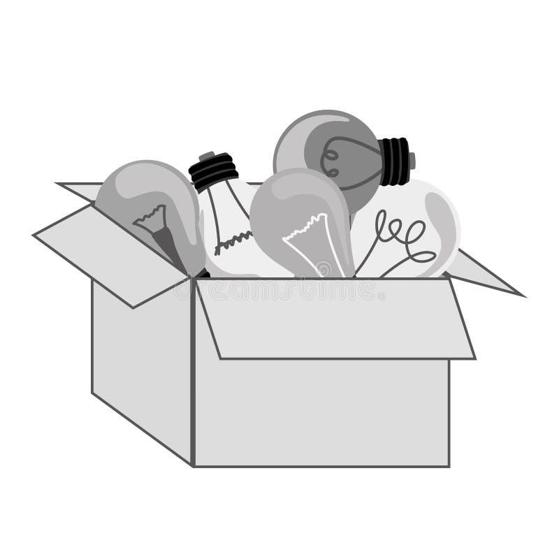 bulbos de suspensão do packcage cinzento da silhueta com filamentos ilustração royalty free