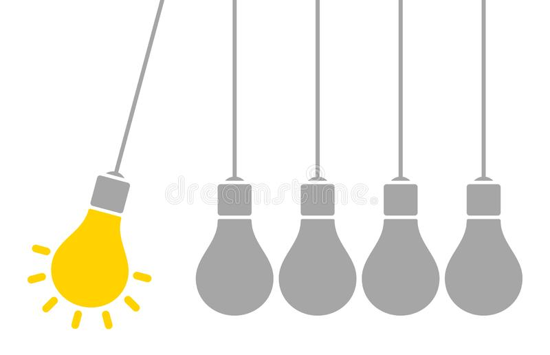 Bulbos de suspensão uns amarelo e cinza de brilho da ideia do pêndulo ilustração royalty free