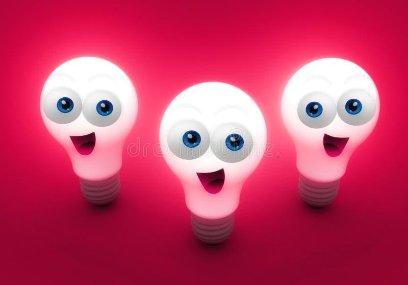 Bulbos felizes brilhantes da faculdade criadora ilustração royalty free