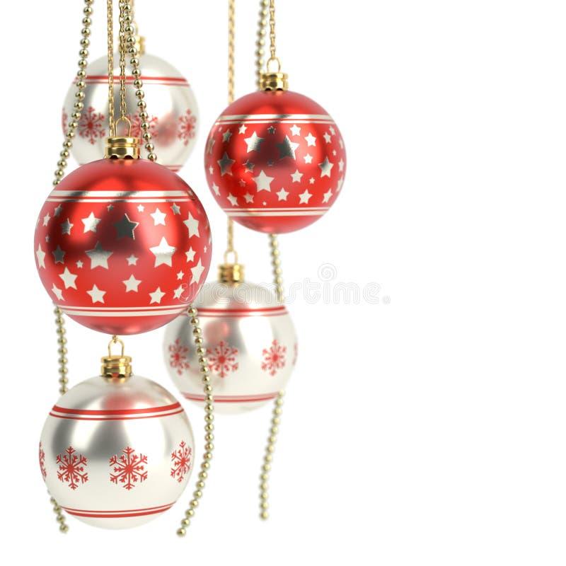 Bulbos vermelhos lustrosos do Natal isolados no fundo branco 3d rendem ilustração stock