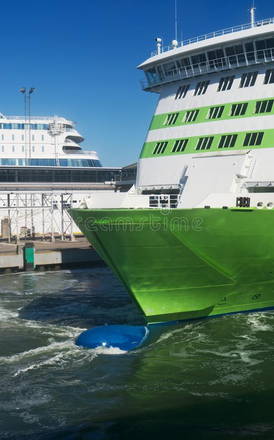 Bulbous bow of the ferry. Close-up view of Bulbous bow of the ferry royalty free stock images