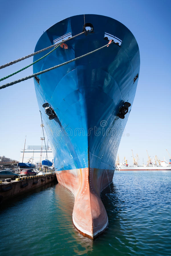 Bulbous bow. Ship moored towering royalty free stock photos