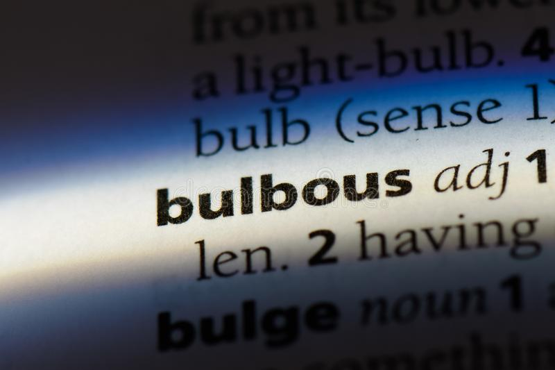 Bulbous. Word in a dictionary.  concept stock photo