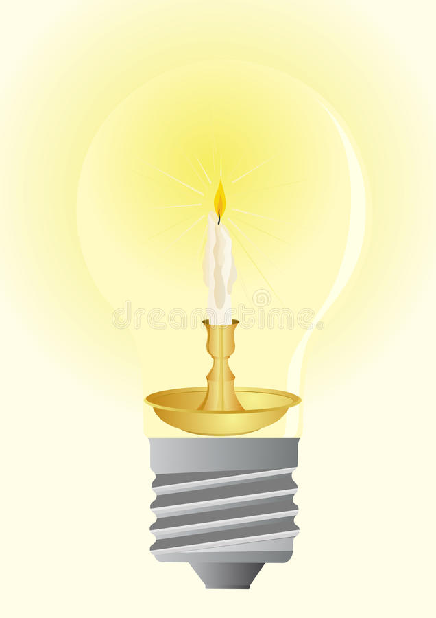 Download Bulbs and wax candle stock vector. Image of light, candle - 19877529