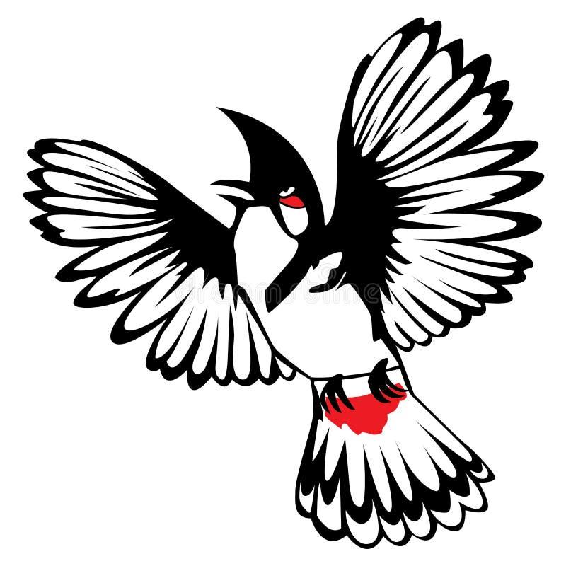 Bulbul Vermelho-com suíças do pássaro tailandês ilustração royalty free