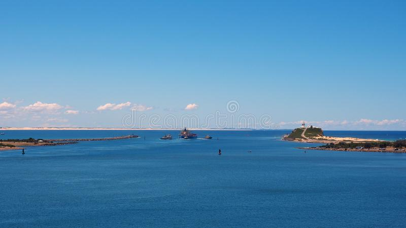 Bulc离开新堡港口,澳大利亚的煤炭载体 图库摄影