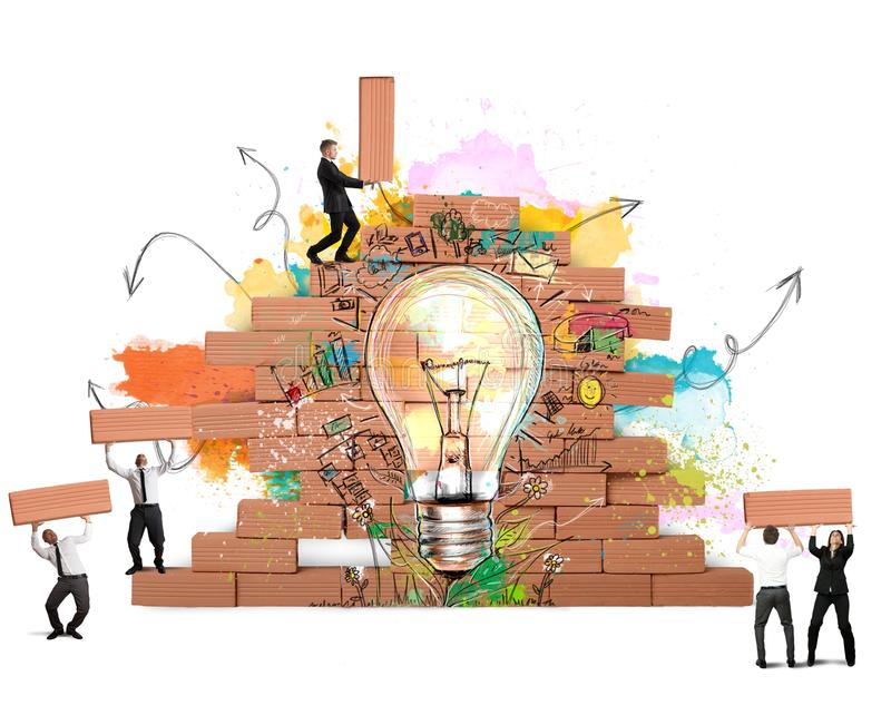 Bulding a new creative idea. Businesspeople works together for a new creative idea stock illustration