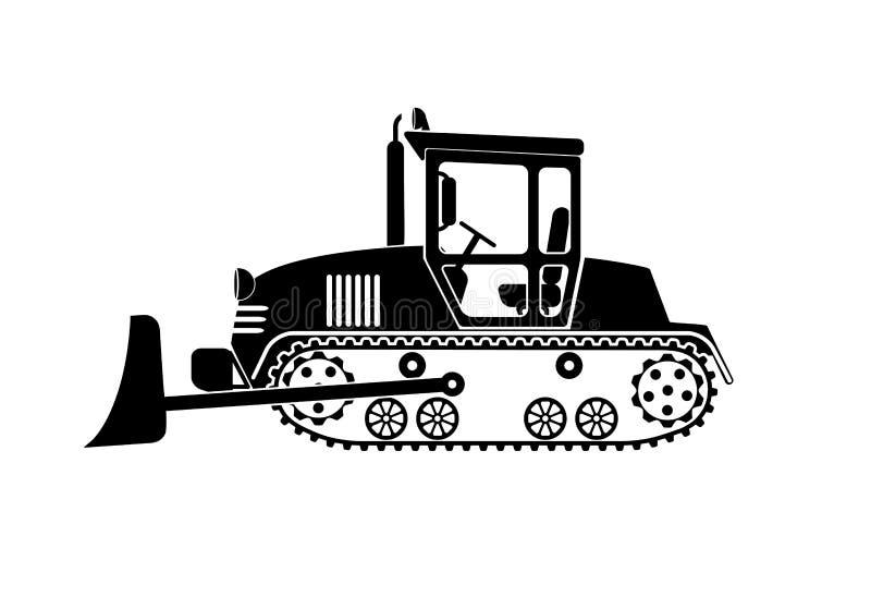 Buldożer pracuje na białym tle ilustracja wektor