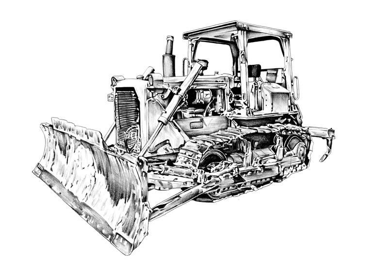 Buldożer sztuki ilustracyjny rysunek ilustracja wektor