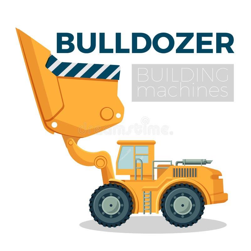 Buldożeru budynku loga maszynowy realistyczny projekt na bielu Śpioszka ciągnik ilustracja wektor