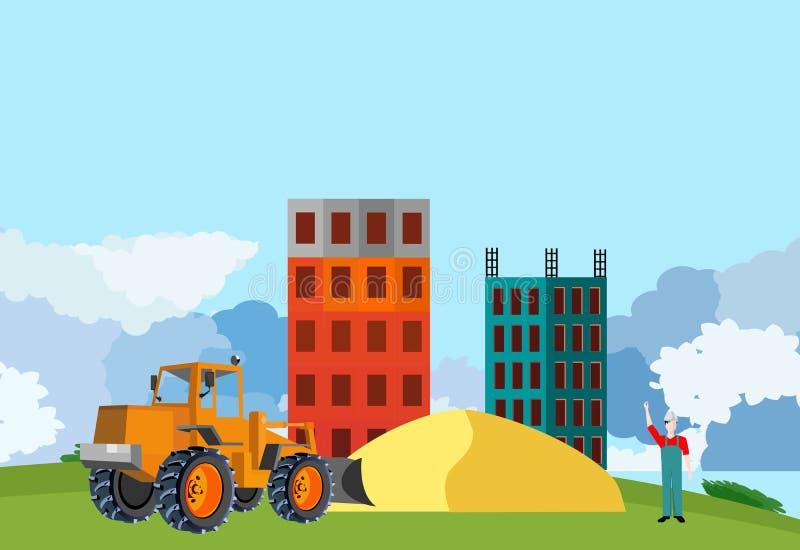 Buldożeru ciągnik na konstrukcja jardzie buduje domy i piaski, wieś, ilustracja wektor