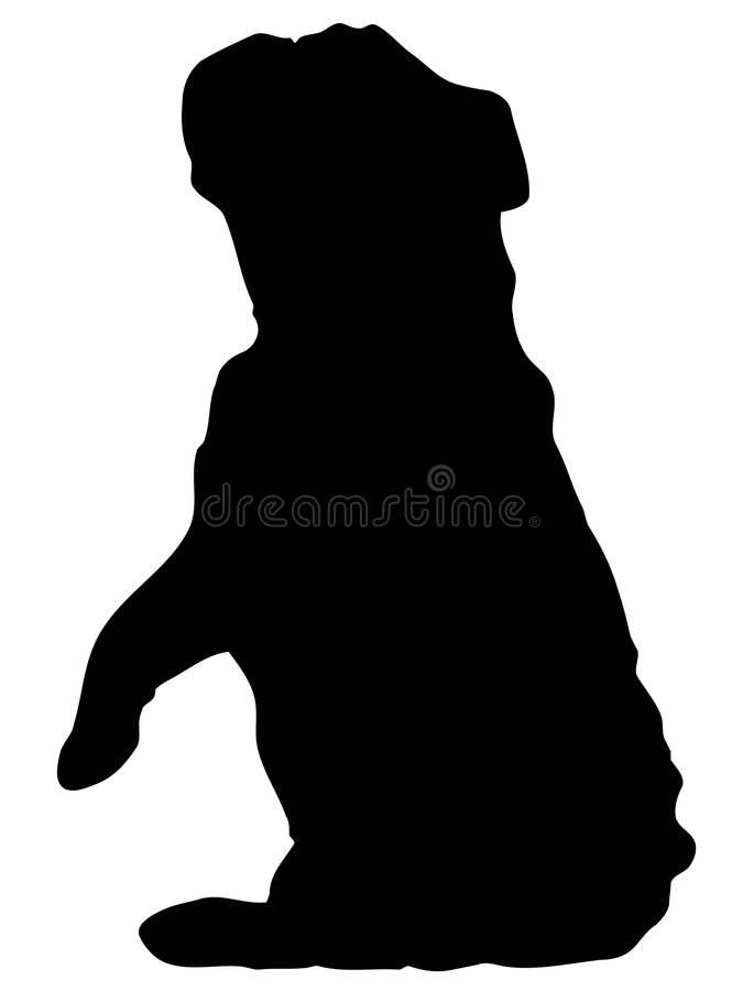 Buldog die silhouet bedelt stock illustratie