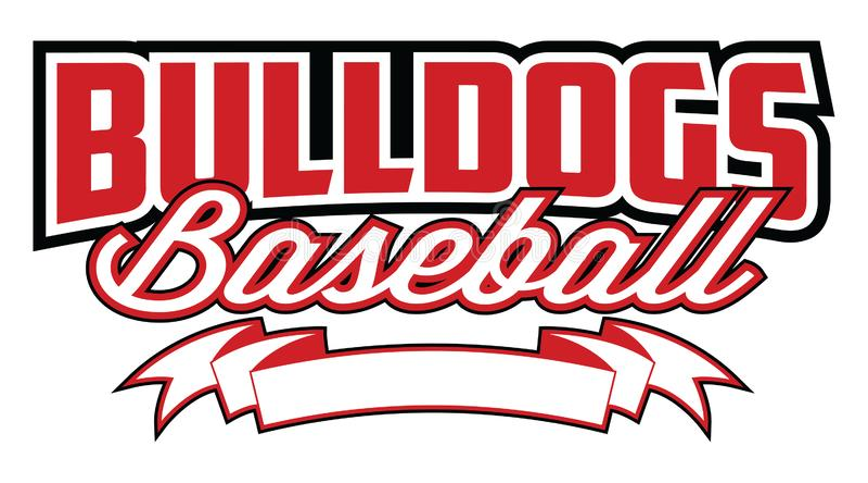 Buldoga baseball Z sztandarem zdjęcia royalty free
