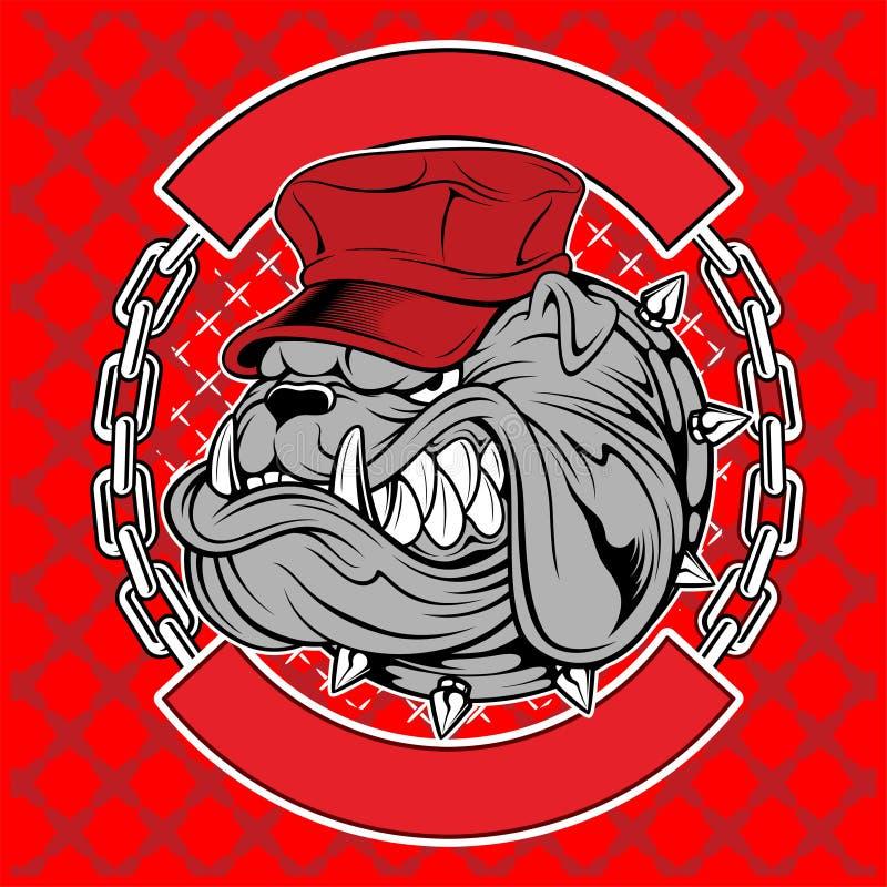 Buldogue com projeto do logotipo do tampão ilustração stock