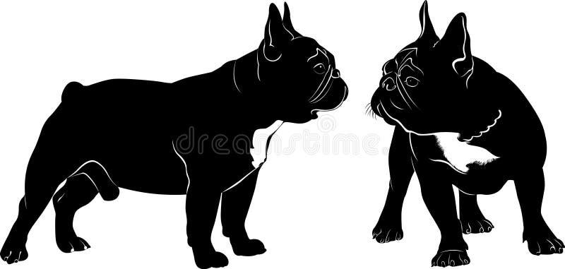 Buldogue do cão Persiga o vetor preto da silhueta do buldogue no fundo branco ilustração royalty free