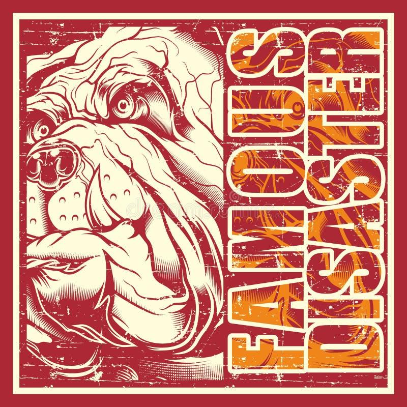 Buldogue do crânio do vintage do estilo do Grunge ilustração do vetor