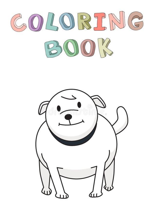 Buldogue ereto Personagem de banda desenhada de sorriso engraçado do cão Ilustração do vetor do contorno para o livro para colori ilustração do vetor