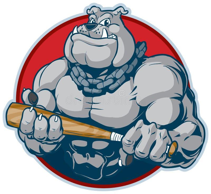 Buldogue muscular com ilustração do vetor da mascote do bastão ilustração do vetor