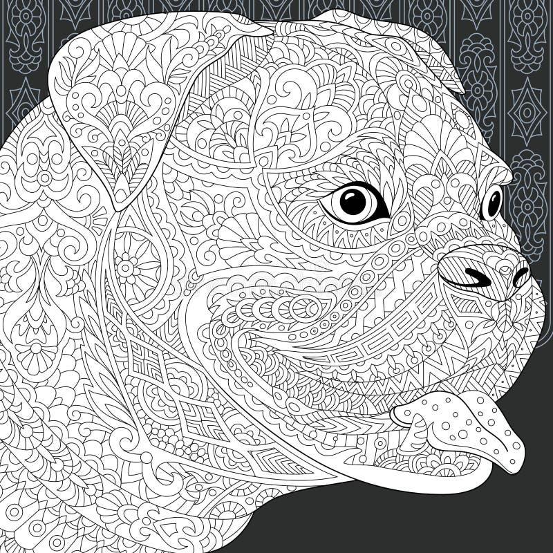 Buldogue no estilo preto e branco ilustração stock