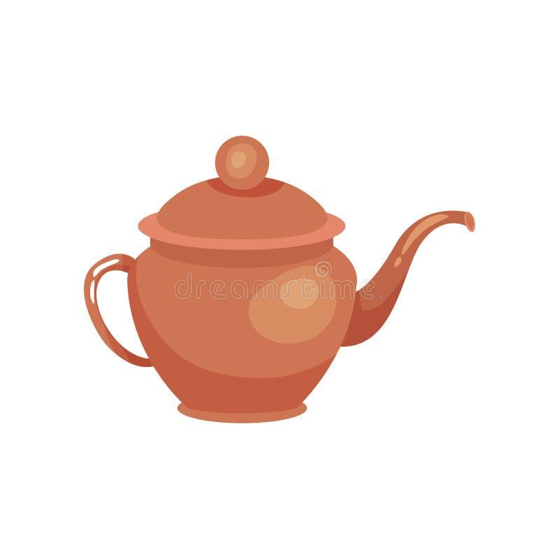 Bule cerâmico de Brown, vetor Ilustration do kitchenware ilustração royalty free