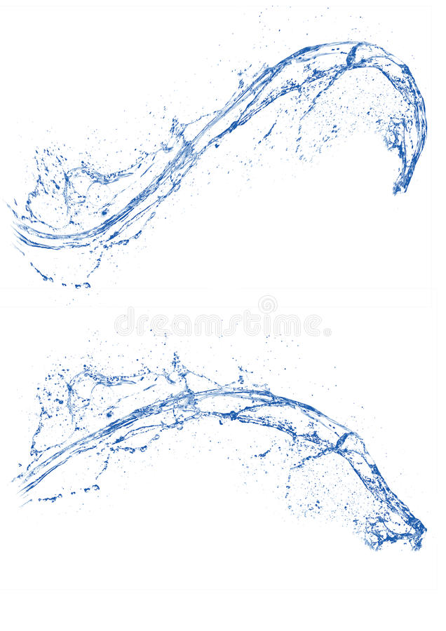 Bule clear water splash in isolated white background.  royalty free stock image