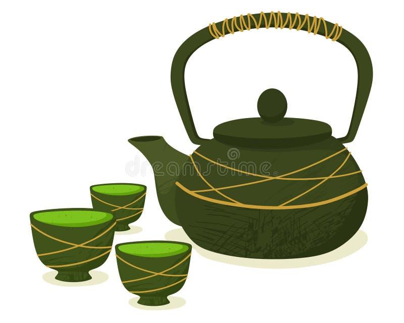 Bule com canecas e chá do matcha Cerim?nia tradicional O vetor isola-se em um fundo branco ilustração royalty free