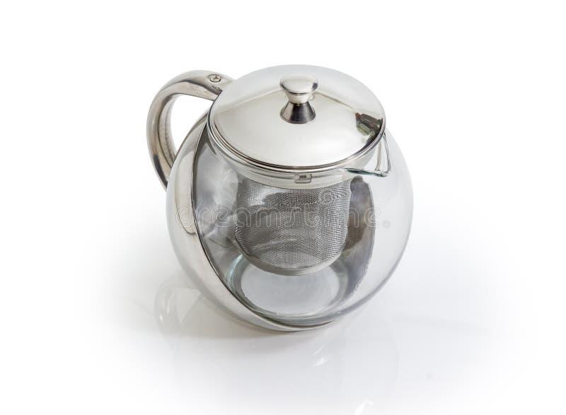 Bule de aço inoxidável e de vidro vazio com filtro foto de stock