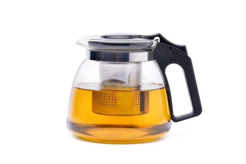 Bule de vidro moderno com o filtro de aço inoxidável removível do infuser foto de stock