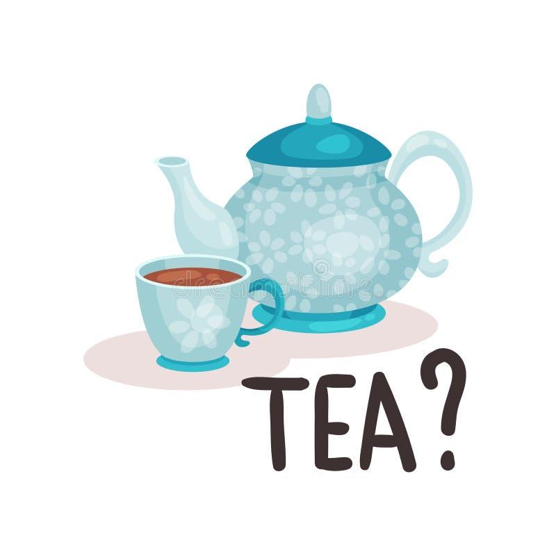 Bule e copo azuis da porcelana com chá fresco Bebida britânica tradicional Projeto liso isolado do vetor ilustração do vetor
