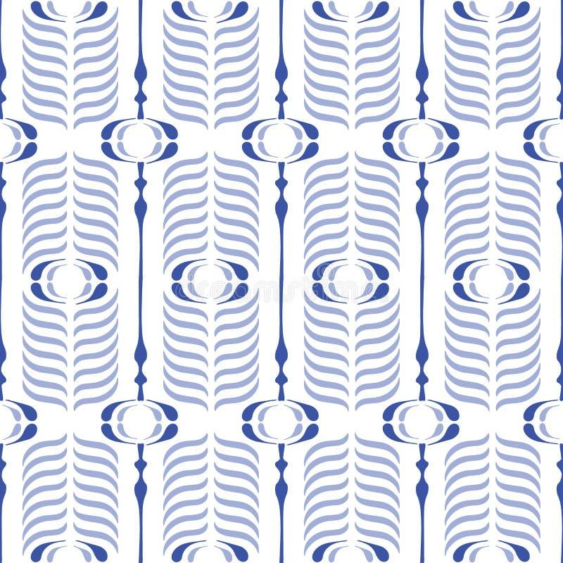 Bule en Wit Ogee-Vector Naadloos Patroon Als achtergrond Modern Klassiek Geometrisch patroon Zwart-wit Verendruk vector illustratie