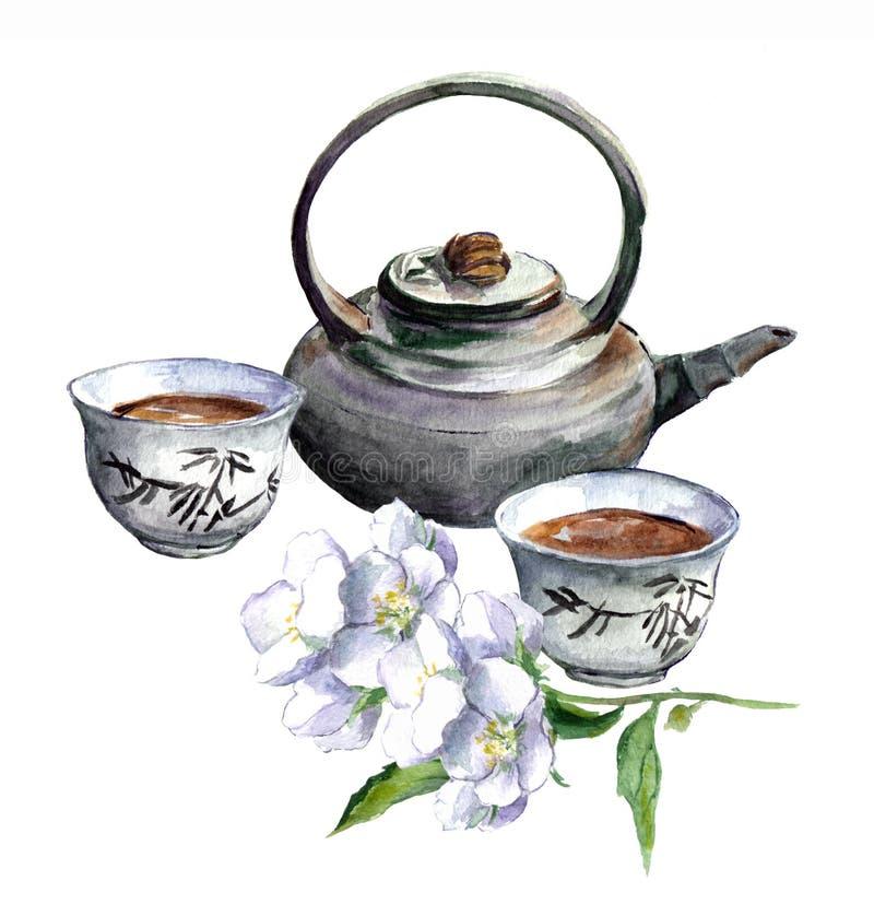 Bule tradicional asiático com copos e jasmim watercolor ilustração royalty free