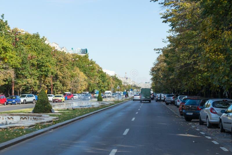 Bulevar Unirii en el capital de Rumania - Bucarest imágenes de archivo libres de regalías