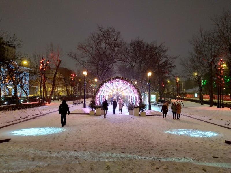 Bulevard de Tverskoy en invierno foto de archivo