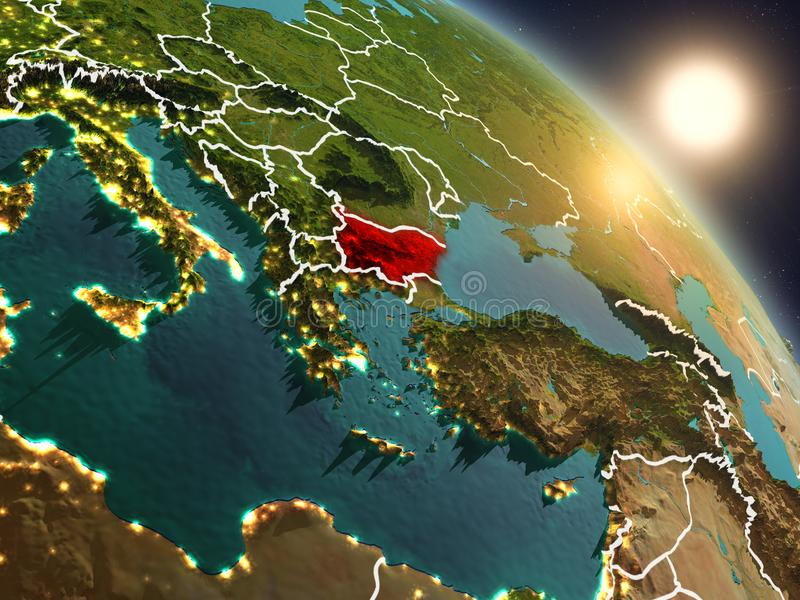 Bulgária do espaço durante o nascer do sol ilustração royalty free