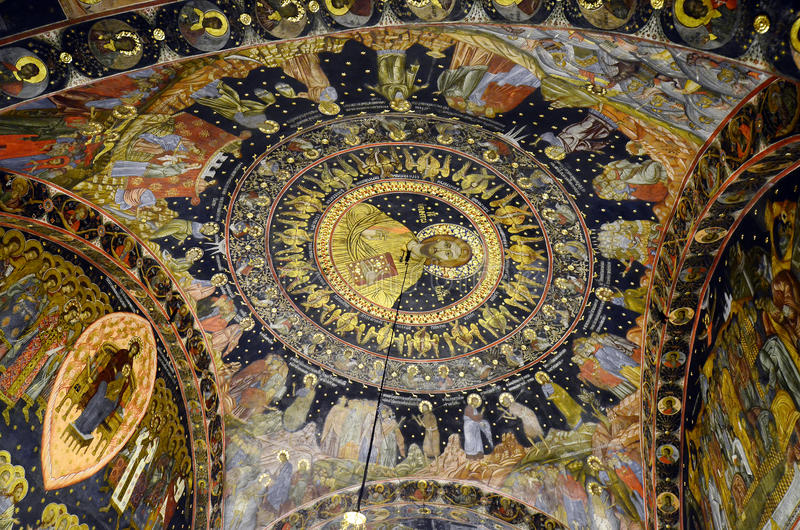 Bulgaria, Bachkovo. Bulgaria, ceiling painting in Bachkovo monastery, landmark and pilgrimage site stock photos