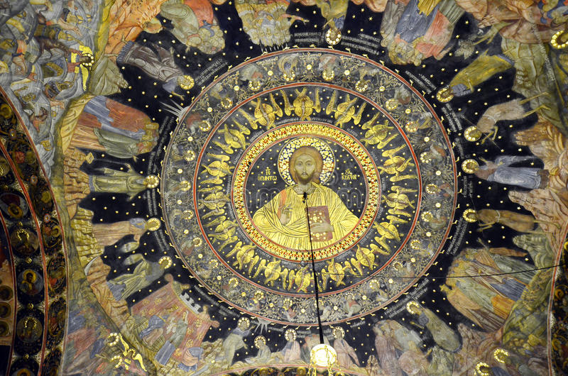 Bulgaria, Bachkovo. Bulgaria, ceiling painting in public Bachkovo monastery, landmark and pilgrimage site royalty free stock images