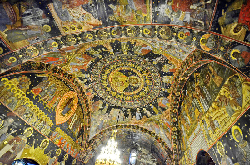 Bulgaria, Bachkovo. Bulgaria, ceiling painting in public Bachkovo monastery, landmark and pilgrimage site royalty free stock image