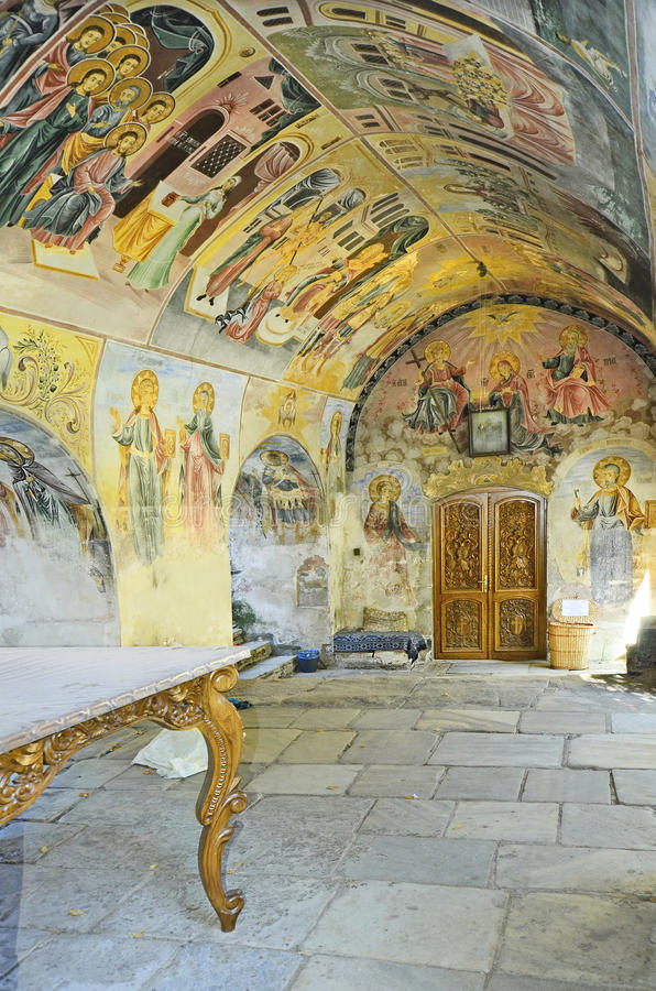 Bulgaria, Bachkovo. Bulgaria, ceiling and wall paintings in public Bachkovo monastery, landmark and pilgrimage site royalty free stock photos