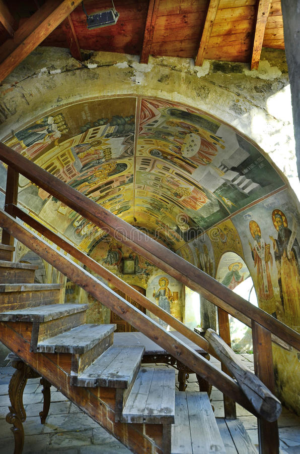 Bulgaria, Bachkovo. Bulgaria, frescos in public Bachkovo monastery, landmark and pilgrimage site stock images